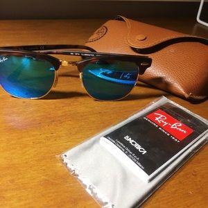 RAYBAN Clubmaster Blue Reflective Sunglasses